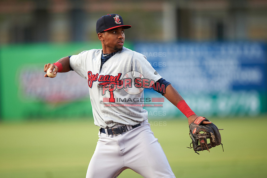 Brevard County Manatees third baseman Jose Cuas (1) throws to first during a game against the Fort Myers Miracle on April 13, 2016 at Hammond Stadium in Fort Myers, Florida.  Fort Myers defeated Brevard County 3-0.  (Mike Janes/Four Seam Images)