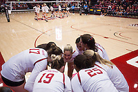 STANFORD, CA - October 14, 2016: Huddle at Maples Pavilion. The Arizona Wildcats defeated the Cardinal 3-1.