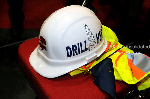St. Paul, MN - September 2, 2008 -- Close-up of one of the hard hats worn by Alaska Delegates supporting oil drilling on the Alaskan North Slope at the 2008 Republican National Convention in St. Paul. Minnesota on Tuesday, September 2, 2008. Ron Sachs / CNP