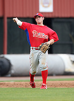 March 25, 2010:  Infielder Matthew McConnell of the Philadelphia Phillies organization during a Spring Training game at the Carpenter Complex in Clearwater, FL.  Photo By Mike Janes/Four Seam Images