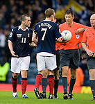 James McFadden and Darren Fletcher argue with ref Wolfgang Stark over the yellow card for the Birmingham City man