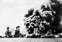 Historic black and white archive photo of the bombing at Pearl Harbor on Dec. 7th, 1941