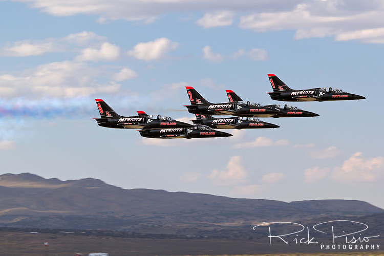Patriots Flight Demonstration Team in formation. The Patriots fly the Czechoslavakian built L-39 Albatross Trainer.