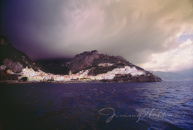 A storm approaches the Amalfi Coast of Italy