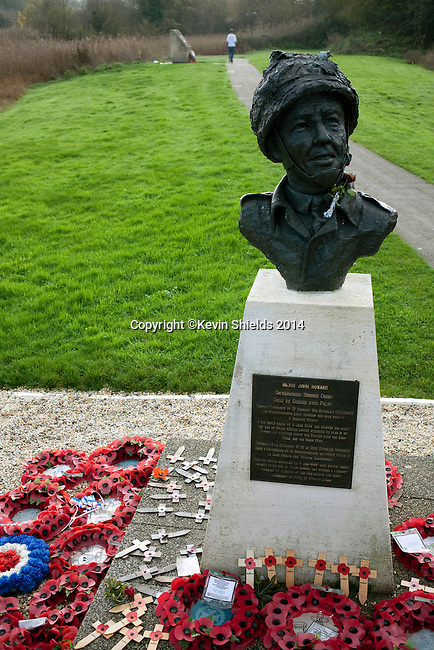 Bust of Major John Howard at the landing site of gliders near Pegasus Bridge, Benouville, France.