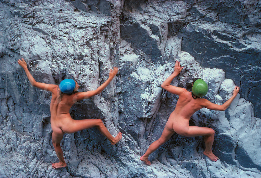 Two unclothed women rock climbing, canyoneering, above a pool in Santa Elena Canyon, in Mexico near or in Big Bend N.P., Texas. Traci and Kerry. Terlingua, Texas, Big Bend National Park.