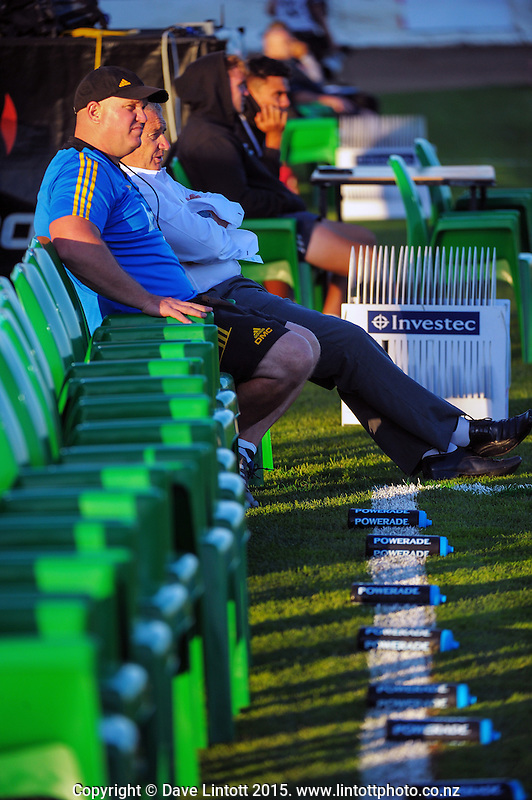 Dan Cron and Chris Boyd watch the Hurricanes warm up for the Super Rugby match between the Hurricanes and Blues at FMG Stadium, Palmerston North, New Zealand on Friday, 13 March 2015. Photo: Dave Lintott / lintottphoto.co.nz