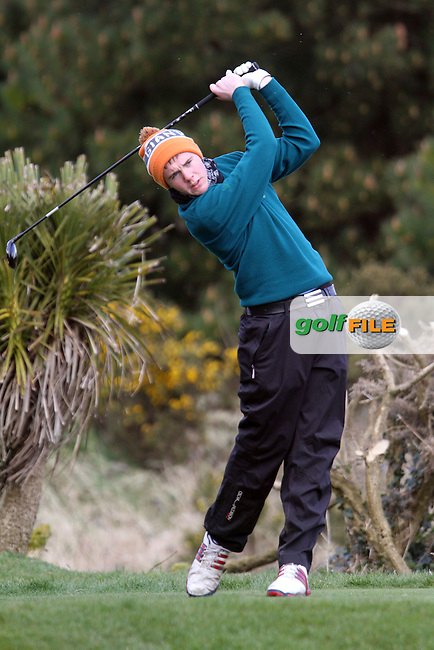 Rob Brazill (Rathsallagh) on the 1st tee during the Leinster Youths Amateur Open Championship in the European Club, Brittas Bay, Co.Wicklow. 26/3/13..(Photo Jenny Matthews/www.golffile.ie)