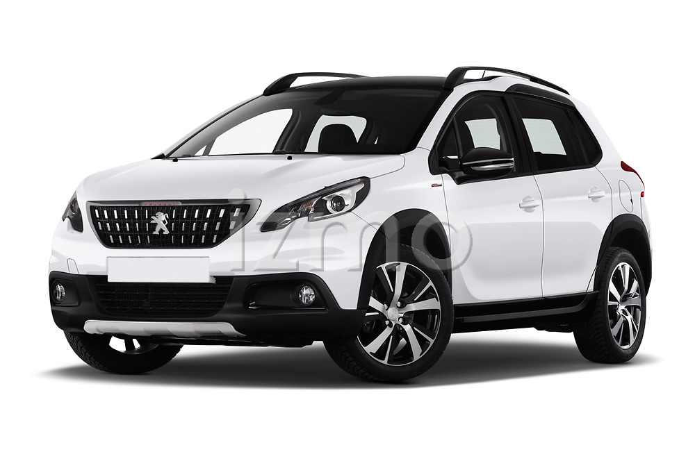 Stock pictures of low aggressive front three quarter view of 2019 Peugeot 2008 GT-Line 5 Door SUV Low Aggressive