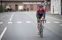 Gianni Moscon (ITA/Ineos) pedalling 'home' after being disqualified from the race for throwing a competitor's bike at him after a crash<br /> <br /> 72nd Kuurne-Brussel-Kuurne 2020 (1.Pro)<br /> Kuurne to Kuurne (BEL): 201km<br /> <br /> ©kramon