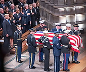 National funeral service in honor of the late former United States President George H.W. Bush at the Washington National Cathedral in Washington, DC on Wednesday, December 5, 2018.  Visible in the frame are former US Vice President Dan Quayle, Marilyn Quayle, former US Vice President Dick Cheney, US President Donald J. Trump, first lady Melania Trump, former US President Barack Obama, former first lady Michelle Obama,  former US President Bill Clinton, former US Secretary of State Hillary Rodham Clinton, former US President Jimmy Carter, and former first lady Rosalynn Carter.<br /> Credit: Ron Sachs / CNP<br /> (RESTRICTION: NO New York or New Jersey Newspapers or newspapers within a 75 mile radius of New York City)