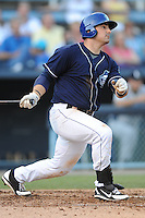 Asheville Tourists first baseman Jordan Ribera #33 swings at a pitch during a game against the Lexington Legends at McCormick Field on May 5, 2012 in Asheville, North Carolina . The Legends defeated the Tourists 5-1. (Tony Farlow/Four Seam Images).
