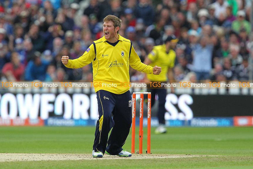 Liam Dawson of Hampshire celebrates the wicket of Glenn Maxwell - Surrey Lions vs Hampshire Royals - Friends Life T20 Finals Day Semi-Final Two at Edgbaston Stadium, Birmingham - 17/08/13 - MANDATORY CREDIT: Gavin Ellis/TGSPHOTO - Self billing applies where appropriate - 0845 094 6026 - contact@tgsphoto.co.uk - NO UNPAID USE