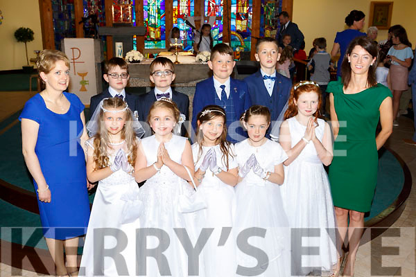Pupils from Anablath NS  Kilcummin with Teacher Ms Buckley and Elaine Rohan-Healy SNA at their First Holy Communion in Our Lady of Lourdes church Kilcummin on Saturday   Maeve Crowley, Keelin McCarthy, Chloe Fleming, Rebecca O'Leary, Ali Doyle. Gearoid Fleming and Donald Fleming,  Dara O'Brien, Shane Morrissey,