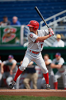 Auburn Doubledays third baseman Cole Daily (7) at bat during a game against the Batavia Muckdogs on September 1, 2018 at Dwyer Stadium in Batavia, New York.  Auburn defeated Batavia 10-5.  (Mike Janes/Four Seam Images)