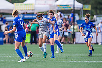 Boston, MA - Saturday June 24, 2017: Ashley Hatch and Morgan Andrews during a regular season National Women's Soccer League (NWSL) match between the Boston Breakers and the North Carolina Courage at Jordan Field.