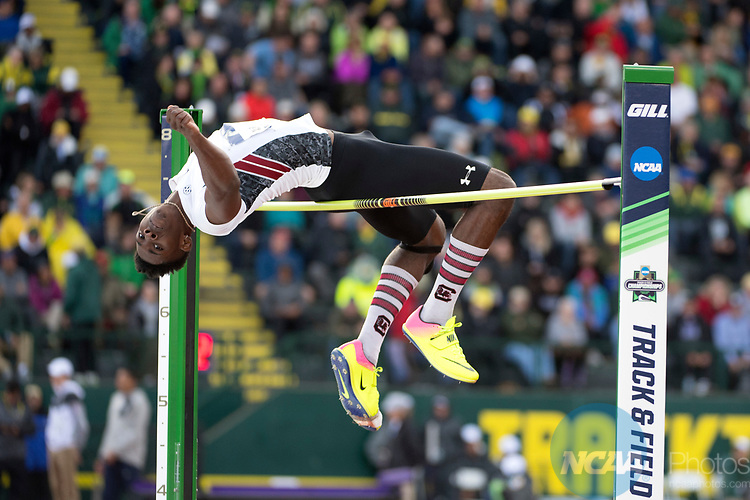 EUGENE, OR - JUNE 09: Tye Williams of the University of South Carolina competes in the high jump during the Division I Men's Outdoor Track & Field Championship held at Hayward Field on June 9, 2017 in Eugene, Oregon. Williams tied for fourth place with a 2.13 meter jump. (Photo by Jamie Schwaberow/NCAA Photos via Getty Images)