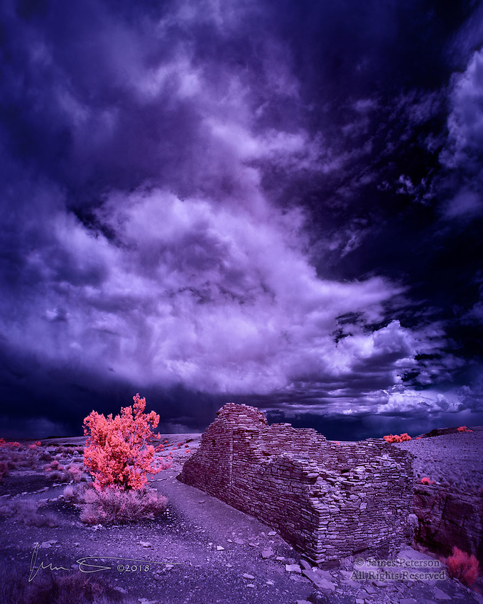 Stormy Afternoon at Wupatki (Infrared) ©2018 James D Peterson.  Under a monsoon sky, these ancient ruins north of Flagstaff, Arizona seem to come alive again when viewed in infrared.