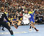 12.01.2019, Mercedes Benz Arena, Berlin, GER, Germany vs. Brazil, im Bild Jannik Kohlbacher (GER #48), Leonardo Tercariol (BRA #62), Haniel Langaro (BRA #37)<br /> <br />      <br /> Foto &copy; nordphoto / Engler