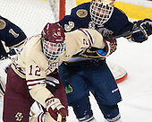 Kevin Hayes (BC - 12), Shayne Taker (ND - 3) - The Boston College Eagles defeated the visiting University of Notre Dame Fighting Irish 4-2 to tie their Hockey East quarterfinal matchup at one game each on Saturday, March 15, 2014, at Kelley Rink in Conte Forum in Chestnut Hill, Massachusetts.