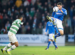 St Johnstone v Celtic.....26.12.13   SPFL<br /> Gary Miller gets above Emilio Izaguirre<br /> Picture by Graeme Hart.<br /> Copyright Perthshire Picture Agency<br /> Tel: 01738 623350  Mobile: 07990 594431