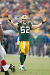 Green Bay Packers linebacker Clay Matthews (52) during an NFL divisional playoff football game against the New York Giants on January 15, 2012 in Green Bay, Wisconsin. The Giants won 37-20. (AP Photo/David Stluka)