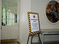 Sign in the Palm Room of the White House West Wing in Washington, DC as it is undergoing renovations while United States President Donald J. Trump is vacationing in Bedminster, New Jersey on Friday, August 11, 2017.<br /> CAP/MPI/CNP/RS<br /> &copy;RS/CNP/MPI/Capital Pictures