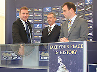 Derek Johnstone draws Rangers at home to Alloa Athletic. Scottish FA President Campbell Ogilvie joined by former Rangers and Scotland striker Derek Johnstone and Kristof Fahy, Chief Marketing Officer at William Hill, in conducting the draw for Round 3 of the William Hill Scottish Cup which took place at Hamilton Park Racecourse on 1.10.12