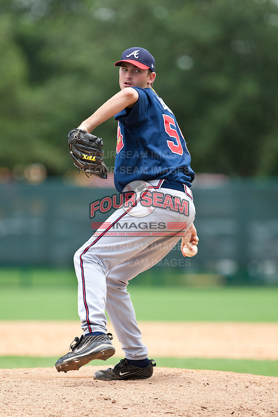 Jonathan Burns of the Gulf Coast League Braves during the game against the Gulf Coast League Tigers July 3 2010 at the Disney Wide World of Sports in Orlando, Florida.  Photo By Scott Jontes/Four Seam Images