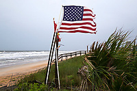 American flag blowing during Hurricane Irma in Flagler Beach, Fla. on September 9, 2017.