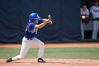 23 August 2007: Third Base #15 Luc Piquet bunts during the France 8-4 victory over Czech Republic in the Good Luck Beijing International baseball tournament (olympic test event) at the Wukesong Baseball Field in Beijing, China.