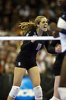Omaha, NE - DECEMBER 20:  Defensive specialist Jessica Fishburn #11 of the Stanford Cardinal during Stanford's 20-25, 24-26, 23-25 loss against the Penn State Nittany Lions in the 2008 NCAA Division I Women's Volleyball Final Four Championship match on December 20, 2008 at the Qwest Center in Omaha, Nebraska.
