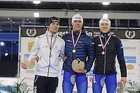SCHAATSEN: HEERENVEEN: 03-02-2017, KPN NK Junioren, Podium Junioren A, Heren 500m, Thijs Govers, Niek Deelstra, Joost van Dobbenburgh, ©foto Martin de Jong