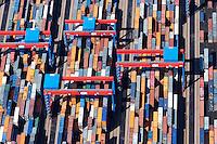 4415/CTA:EUROPA, DEUTSCHLAND, HAMBURG 21.05.2005: CTA, Container Terminal Altenwerder, Container,  Lager, Logistik, automatischer Betrieb, menschenleer, Hamburger Hafen, Luftbild, Luftansicht