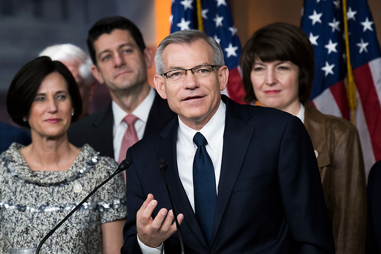 UNITED STATES - APRIL 6: Rep. David Schweikert, R-Ariz., conducts a news conference with members the GOP caucus in the Capitol Visitor Center to announce a new amendment to the health care bill to repeal and replace the ACA, April 6, 2017. (Photo By Tom Williams/CQ Roll Call)