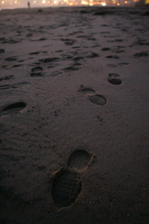 December 5, 2007; Santa Cruz, CA, USA; Footprints in the sand at Santa Cruz beach in Santa Cruz, CA. Photo by: Phillip Carter