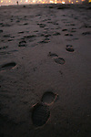 December 5, 2007; Santa Cruz, CA, USA; Footprints in the sand at Santa Cruz beach in Santa Cruz, CA. Photo by: Phillip Carter