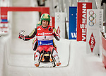 4 December 2015: Thomas Steu and Lorenz Koller, sliding for Austria, cross the finish line after their second run, finishing 9th for the day with a combined time of 1:28.730 in the Doubles Competition of the Viessmann Luge World Cup at the Olympic Sports Track in Lake Placid, New York, USA. Mandatory Credit: Ed Wolfstein Photo *** RAW (NEF) Image File Available ***