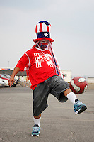 A USA fan juggles the ball in the parking lot prior to the start of the match. The men's national teams of the United States and Argentina played to a 0-0 tie during an international friendly at Giants Stadium in East Rutherford, NJ, on June 8, 2008.
