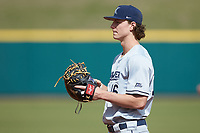 Ethan Schmidt (16) of the Xavier Musketeers on defense against the Penn State Nittany Lions at Coleman Field at the USA Baseball National Training Center on February 25, 2017 in Cary, North Carolina. The Musketeers defeated the Nittany Lions 10-4 in game one of a double header. (Brian Westerholt/Four Seam Images)