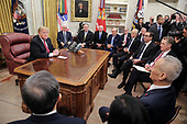 United States President Donald J. Trump, and, from left, US Vice President Mike Pence, US Secretary of State Mike Pompeo, US Secretary of Commerce Wilbur L. Ross, Jr., Director of Trade and Industrial Policy, Director of the White House National Trade Council Peter Navarro, United States Secretary of the Treasury Steven T. Mnunchin, and United States Trade Representative Robert Lighthizer, meet with, Liu He, Member of the Political Bureau of the Central Committee of the Communist Party of China and Vice Premier of the Peopleís Republic of China and Wang Shouwen, Vice Minister of Commerce of the People's Republic of China, in the Oval Office of the White House on January 31, 2019 in Washington, DC. <br /> Credit: Oliver Contreras / Pool via CNP
