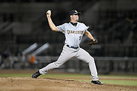 Relief pitcher Dalton Higgins (19) of the Charleston RiverDogs delivers a pitch during a game against the Columbia Fireflies on Wednesday, August 29, 2018, at Spirit Communications Park in Columbia, South Carolina. Charleston won, 6-1. (Tom Priddy/Four Seam Images)