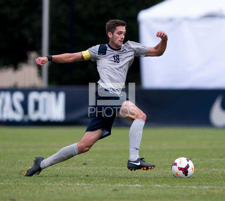 Steve Neumann (18) of Georgetown carries the ball during the game at Shaw Field on the campus of the Georgetown University in Washington, DC.  Georgetown tied Creighton, 0-0, in double overtime.