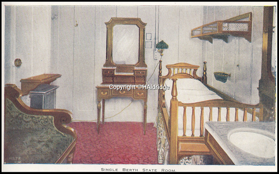 BNPS.co.uk (01202 558833)<br /> Pic: HAldridge/BNPS<br /> <br /> A single berth state room.<br /> <br /> A rare holiday brochure for the Titanic has surfaced after 106 years.<br /> <br /> The brochure was specifically aimed at rich first and second class passengers and contained colourful images of the most luxurious parts of the doomed liner.<br /> <br /> It walked the reader through different parts of the 'unsinkable' ship, from the opulent reception room, to the Louis XVI period designed restaurant and the promenade deck.<br /> <br /> The sumptuous state rooms that cost the equivalent of £40,000 to stay in, are featured in the fascinating brochure as is the famous grand staircase that featured heavily in the 1997 movie starring Kate Winslet.