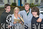 Leaving certificate students from Gaelchola?iste Chiarrai, Tralee on Wednesday after getting their Leaving Cert Results Eoin Fitzgerald, Caoimhe Willis, Gavin Fahy and Eoghan Finn.