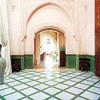 The walls of this light and spacious hall are covered in ornate plasterwork