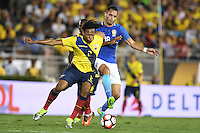 actionn photo during the match Brazil vs Ecuador, Corresponding Group -B- America Cup Centenary 2016, at Rose Bowl Stadium<br /> <br /> Foto de accion durante el partido Brasil vs Ecuador, Correspondiante al Grupo -B-  de la Copa America Centenario USA 2016 en el Estadio Rose Bowl, en la foto: (i-d) Arturo Mina de Ecuador y  Renato Augusto de Brasil<br /> <br /> <br /> 04/06/2016/MEXSPORT/Omar Martinez.