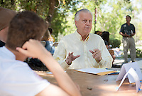 Eric Newhall, Professor, English. Incoming first years meet with their faculty advisors during the Major Information Sessions & Advising part of Orientation in the Academic Quad, Aug. 24, 2015.<br /> (Photo by Marc Campos, Occidental College Photographer)