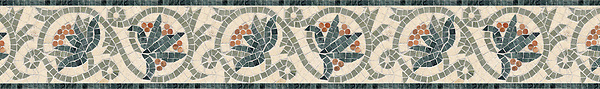 "6"" Bella border, a hand-cut stone mosaic, shown in polished Verde Luna, Verde Alpi, Rosa Verona, and honed Fontenay Claire."