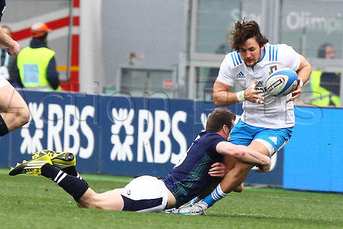 27.02.2016. Stadio Olimpico, Rome, Italy. RBS Six Nations Championships. Italy versus Scotland. CAMPAGNARO MICHELE brought down by the diving tackle